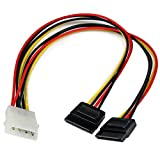 StarTech.com SATA Y-Stromkabel - Splitter Power Y-Kabel mit 2 x SATA intern 1 x Molex (Stecker) 2 x SATA Power (15 pin) Buchse 30cm