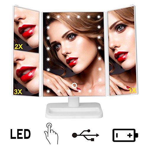 Espejo Maquillaje LDE / Espejo Maquillaje con Luz Plegable 24 Lámpara LED Carga USB o Batería Ajustable 180° Tríptico de Pantalla Táctil con Aumentos 1x, 2x, 3x Regalo Perfecto para Mujeres - Uvistar