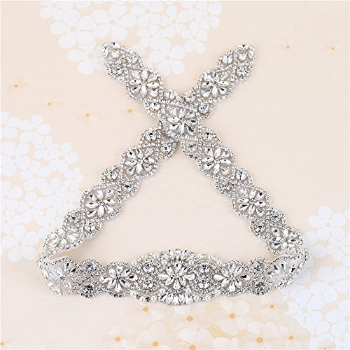 Braut Hochzeit Gürtel Applikationen mit Strass und Perlen, XINFANGXIU Kristall Gürtel Schärpe...