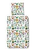 Aminata Kids - Kinder-Bettwäsche-Set 135-x-200 cm Zoo-Tier-e-Motiv Safari Waldtier-e Dschungel 100-% Baumwolle Renforce bunt-e Weiss-e