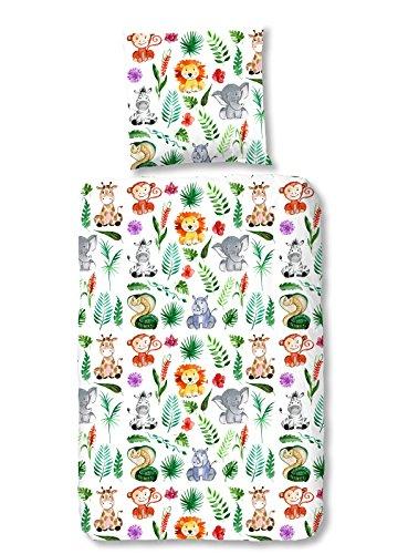 Aminata Kids - Kinder-Bettwäsche-Set 135-x-200 cm Zoo-Tier-e-Motiv Safari Waldtier-e Dschungel 100-{983293231f43b818b2caa39e71ab3794a954a49ebb89caacd20e2693d6b31d2e} Baumwolle Renforce bunt-e Weiss-e
