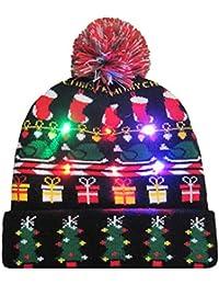 POLP Mujeres Regalo Hombre Gorro de luz LED de Punto para Mujer Navidad navideña Gorro navideño navideña Sombrero…