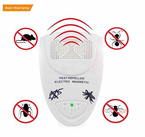 Repelente de plagas ultrasónico, control de plagas en casa, extraeficaz, con luz, repele el agua, con luz nocturna para roedores, insectos, moscas y arañas