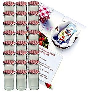 MamboCat 24er Set Sturzglas 435 ml Marmeladenglas Einmachglas Einweckglas to 82 rot Karierter Deckel incl. Diamant-Zucker Gelierzauber Rezeptheft