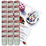 Set di 24 caduta vetro 435 ml vetro barattolo da conserva To 82 marmellate rosso a scacchi con coperchio thuppaki-zucchero Gelierzauber ricetta manico