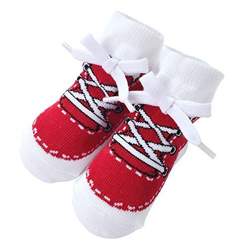 Sanlutoz Baby Socken Jungen Baumwolle Söckchen mit Muster Kindersocken im Turnschuh-Look 0-6 12Monate (12-24 Monate, SOCKA014-RD) (Crew Mikrofaser-crew-socken)