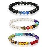 Aroncent 3er Unisex 8mm Armband Steine Damen Perlenarmband Mala Armband Herren Buddha Armband Lava Armband, Bunt, schwarz, Blau