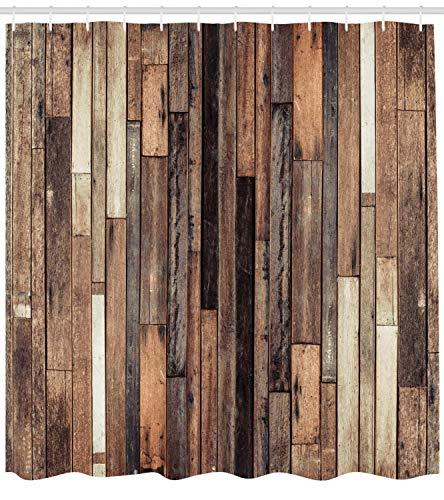 ABAKUHAUS Hölzern Duschvorhang, Rustikale Art des Alten Bodens, mit 12 Ringe Set Wasserdicht Stielvoll Modern Farbfest und Schimmel Resistent, 175x240 cm, Braun (Braun Duschvorhang Set)