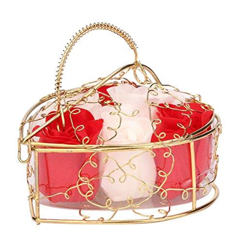 Handgemachte Seife Goosun 6 Rose Seifenblume Im Vergoldet Geschenkbox Kunstblumen Rose Kreative Romantische Rosenstrauss Herzförmig Geschenkbox Valentinstag Ehe Geburtstag Geschenk (1 pcs, Rot) -