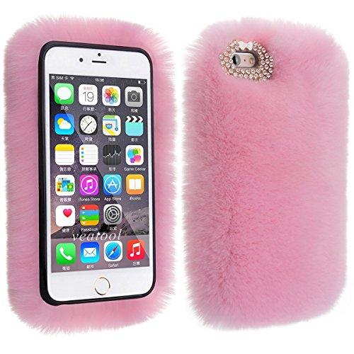 Estuche para iPhone, elecfan Soft Warm Furry Estuche de lujo Cute Bling Diamonds Bowknot Diseño Estuche mullido Estuche protector para mujer Girly (iPhone X, Rosa)