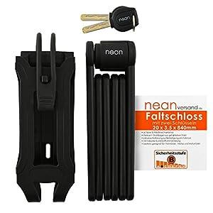 NEAN–Candado de bicicleta plegable, soporte, 2llave de seguridad, 20x 3,5x 840mm