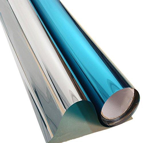 HOHO Solar Window Tint Film Reflective One Way Mirror Blue Silver Insulation Glass Stickers,0.5mx30m Reflective Mirror Film