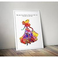 Cadeaux d'affiche aquarelle inspirée de la belle au bois dormant - Affiches télé/cinéma alternatives en différentes tailles (Cadre non inclus)