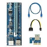 easyDecor VER 009S PCI-E Express, PCIE Riser 1X bis 16X with LED Extender Riser Adapterkarte SATA 15pin Male to 6pin Power Cable &60cm USB 3.0 Extender Riser Adapter Grafikkarte Ming ETH (1PCS)