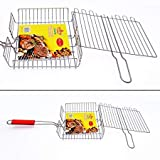#5: Ever Mall Barbecue Grilling with Handle BBQ Fish Basket Roast Folder Tool Outdoor Barbecue Mesh Portable Stainless Steel BBQ Grill Outdoor