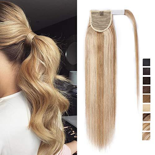 Coda capelli extension veri code di cavallo clip ponytail extensions aderire fascia unica 100% remy human hair biondi umani lisci 45cm-90g # biondo sabbia mix biondo chiarissimo
