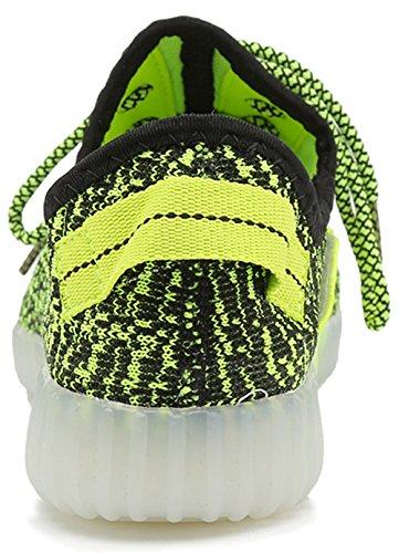 Aidonger Damen Herren Turnschuhe Licht Luminous 7 Farben Unisex USB Lade Outdoor Leichtathletik beiläufige Paare Schuhe Grün