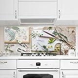 Bilderwelten Spritzschutz Glas - Blumen und Gartenkräuter Vintage - Panorama Quer, Wandbild Küchenrückwand Küchenspiegel Küchenspritzschutz Glasrückwand Küche Spritzschutz Herd, Größe HxB: 40cm x 100cm