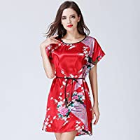 En, la, largo, verano, camisón, hembra, corto, manga, pijama, seda, ropa, tamaño, hogar, decoración, sello, Big,red