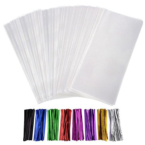 300 Stück Leckereien Taschen Cello Taschen 3 x 4 Zoll und 320 Stück Twist Krawatten 8 Farben für Hochzeit Geschenk Süßigkeiten Buffet Party Supply
