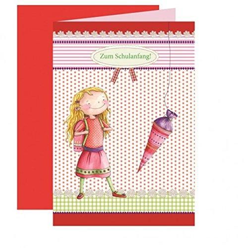 """Preisvergleich Produktbild Einladung Schulanfang """"Leni & Paul"""" - 5 Stück,  rot"""