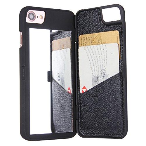 YAN Für iPhone 7 Back Cover Style Mirror Hard Case mit Kartensteckplatz ( Color : Magenta ) Black