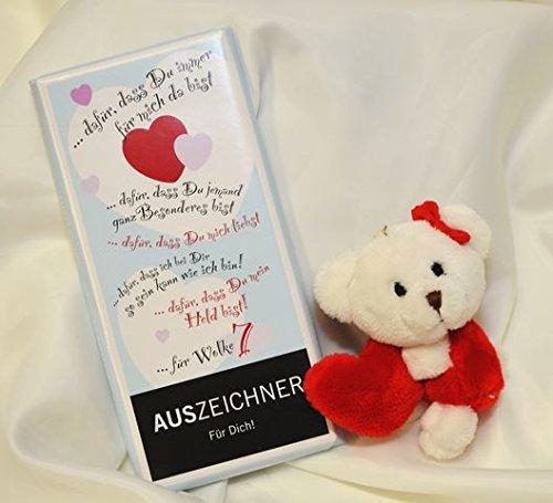 Preisvergleich Produktbild #110- Geschenkset: Plüsch Teddy mit Herz , 100 gr. Tafel Schokolade Auszeichner