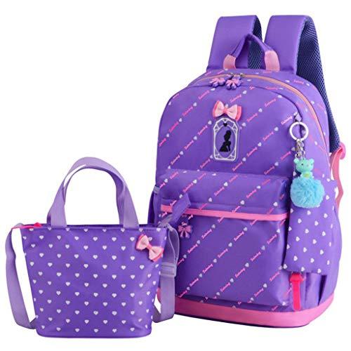 Opmea zaino stampato a forma di cuore studenti 1-3-6 zaino principessa di grado 3 set di borsa per bambini ultra leggero (colore : d)
