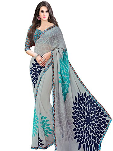 Vivera Women\'s Georgette Saree(VRSUNFLOWER_GREY7)