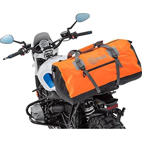 Motorrad Hecktasche QBag Hecktasche/Gepäckrolle wasserdicht 11, universell, Einschubtaschen, robuster Boden, Stabiler Stand, universelle Passform für Fast alle Motorräder, Orange, 80 Liter