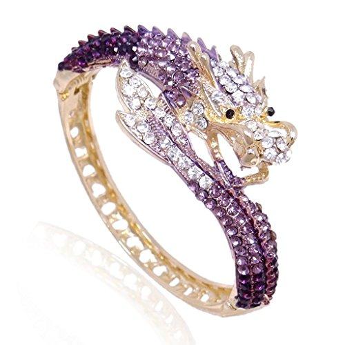 Ever Faith Drago bracciale di cristallo austriaca Fly - Viola-Gold-Tone A07924-13