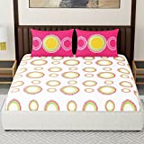 #10: Spaces Expressions 144 TC Cotton Double Bedsheet with 2 Pillow Covers - Striped, Pink