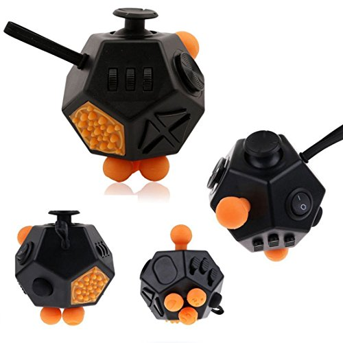 Upgrade 12 Sides Fidget Cube Anti-anxiety and Depression, Fidget Dice Toy Stress Reducer, Suitable for ADHD, EDC and Autism Adult Children Finger Toy (Black + Orange) -
