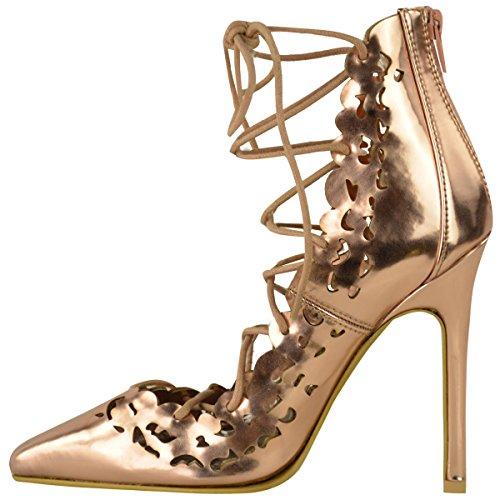 da donna ispirato a Star stile tacco alto con lacci Cut Out Décolleté BALLO Scarpe Décolleté numero rosa dorato metallizzato