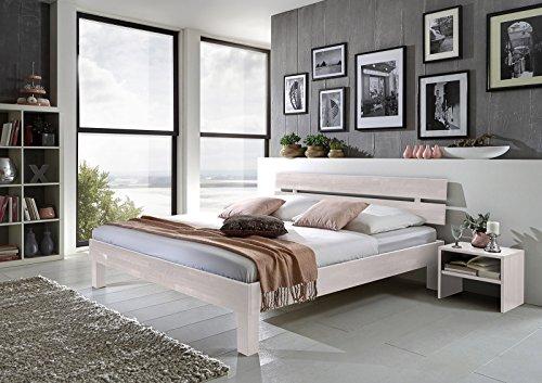 SAM® Massiv-Holzbett Jessica in Buche weiß - Bett mit geteiltem Kopfteil