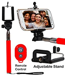 Selfie Stick Monopod With Bluetooth Remote Wireless Shutter Connectivity Compatible For Huawei Y635-RED
