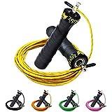 ZenRope - Speed Rope Springseil Sport mit GRATIS E-BOOK | Extra-Stahlseil, Tasche & Einstiegsguide | Rope Skipping Seil High Speed Workout Springschnur (Gelb)