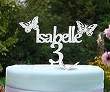 Personalisierte Namen und Alter Kuchendekoration mit Schmetterlinge (weiß)
