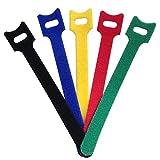 anlian tipo T reutilizable Colorful Cable de Cable de velcro gancho y bucle Fastening Wraps correas Wire Cable Organizadores 6pulgadas, 50unidades
