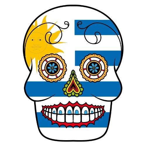 V-T-Shirt - Uruguay - Sugar Skull - Fahne - Damen Weiß