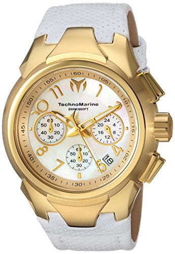 Technomarine Women's 'Sea' Quartz Stainless Steel and Leather Casual Watch, Color:White (Model: TM-715033)