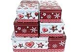 GDWorld 5er Set Gebäckdosen eckig Weihnachtsmotiv Plätzchen Dose