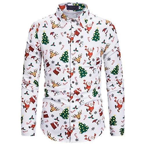 Luckycat Camisas de Navidad para Hombre Camisas Feas de Navidad Camisas de Manga Larga...