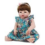 VNEIRW Lebensecht Puppe Waschbar Reborn Babypuppe Silikon Realistische Baby Puppe mit Brown Kurze Haare und Blumenrock 52 cm (Mehrfarbig)