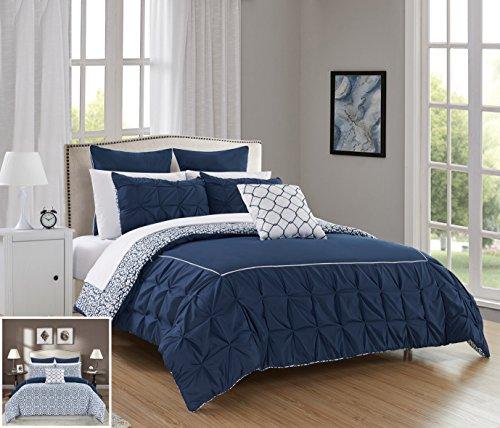 Chic Home 7Stück Zustimmung gerüschte Pinch Falte Grenze mit Paspeln, wendbar modernes Bett gedrucktes Muster Twin in eine Tasche Tröster Set Marineblau - Twin Sets Tröster Clearance