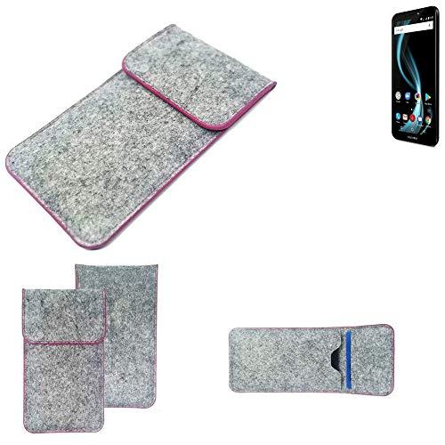 K-S-Trade® Filz Schutz Hülle Für Allview X4 Soul Infinity S Schutzhülle Filztasche Pouch Tasche Case Sleeve Handyhülle Filzhülle Hellgrau Pinker Rand