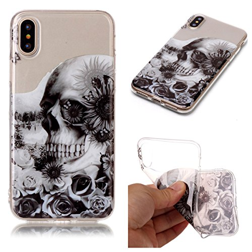 Cover iPhone X, GrandEver Morbida Trasparente Ultra Slim Gel Silicone TPU Custodia Protettiva Back Shell Case per iPhone X - Piuma Cranio