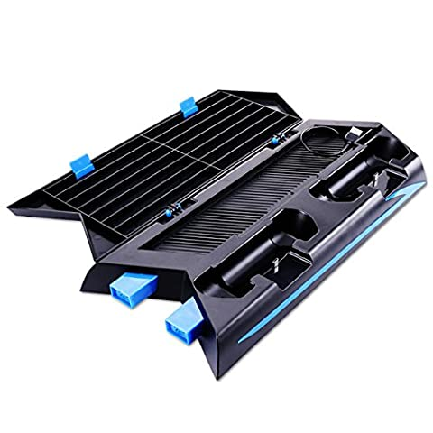 PS4 Stand, SuperStore_Electronics [Upgraded Version] PS4 Vertical Stand Cooling Fan Dual Charging Station for Playstation 4 DualShock 4 Controllers, with Dual USB HUB Charger Ports, Black