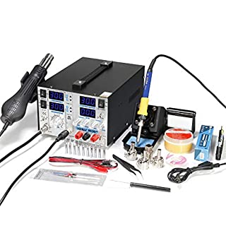 YIHUA 853D+ 4 in 1 HOT AIR REWORK Soldering Iron Station DC Power Supply 30V 5A