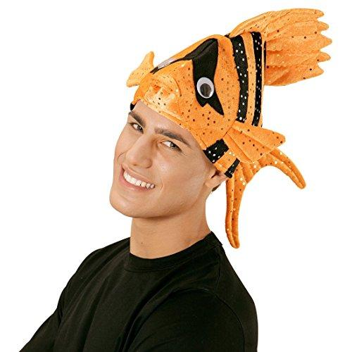 NET TOYS Lustige Fischmütze Tropen Fischhut orange Fisch Hut Mütze Tierhut Tiermütze Clownfisch Kopfbedeckung Faschingshut Nemo (Mann Fisch Kostüm)